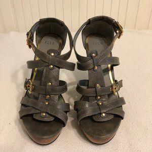 Elle Hamlin Strappy Gray Wedge Heels (Size 8.5)